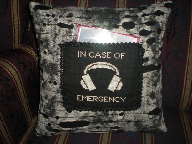 Fallout pillow with cross stitch cd pocket